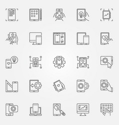 mobile app development outline concept vector image