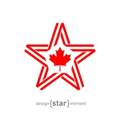 monocrome star with Canadian flag color and symbol vector image