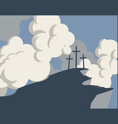 Mountain with three crosses and sky with clouds vector