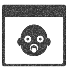 Newborn Head Calendar Page Grainy Texture Icon vector image