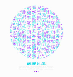Online music concept in circle vector