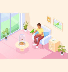 parrot pet bird at hand owner at home isometric vector image