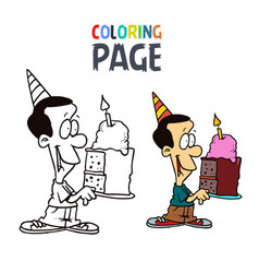 people with cake birthday cartoon coloring page vector image