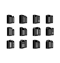 Perspective icons company and buildings set bank vector