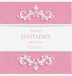 Pink Floral 3d Christmas and Invitation vector image