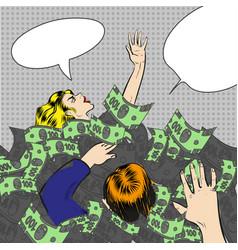 pop art sinking in money vector image
