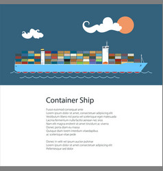 Poster with cargo container ship vector