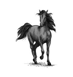 Racing horse running on races sketch vector