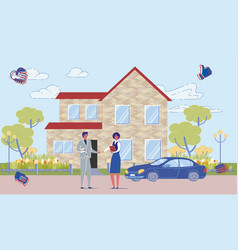 real estate agent and buyer on house background vector image