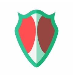 Red-green protective shield icon flat style vector