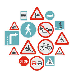 road sign set icons flat style vector image