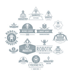 Robot logo icons set simple style vector