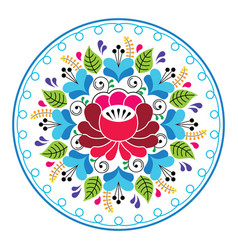 Russian folk art pattern - round floral design vector