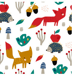 Seamless autumn pattern with fox mushrooms vector