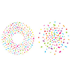 set of colorful explosion of confetti flat vector image