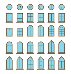 Set of different icons window and windowpane types vector image