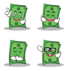 Set of dollar character cartoon style collection vector