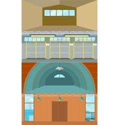 Set Of Warehouses Hangar Buildings In Flat Design vector