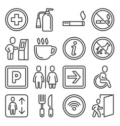 shopping center and public building signs set vector image