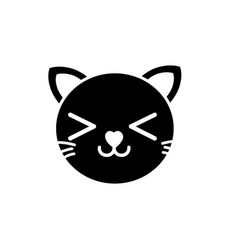 silhouette smile cat head cute animal vector image