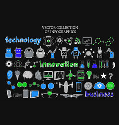 Sketch science and technology elements set vector