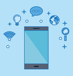 Smartphone with social media marketing icons vector