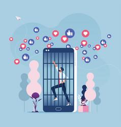 social media addiction concept vector image