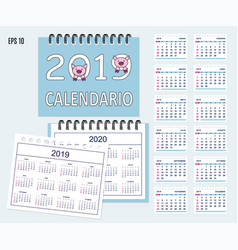 spiral spanish desk calendar year 2019 2020 with vector image