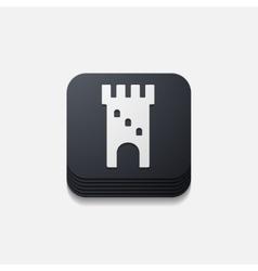 Square button fortress vector