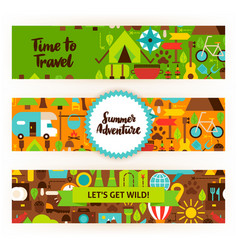 summer adventure banners set vector image