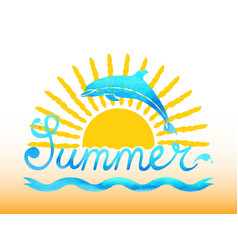 Summer watercolor with sun and vector