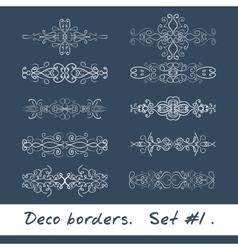 Ten decorative borders in white color Set 1 vector image