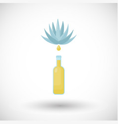 Tequila bottle and blue agave flat icon vector