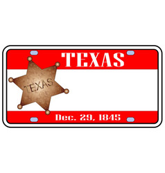 texas plate vector image