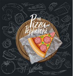 The pepperoni pizza slice with background vector