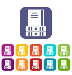 Three books icons set vector