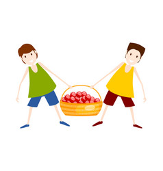 Two boys with a basket of red apples harvesting vector