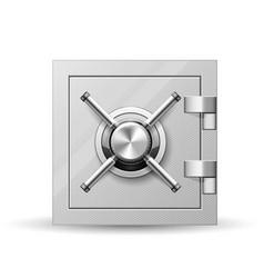 vault with handle wheel - safe door strongbox vector image