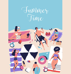 Vertical poster with sunbathing chilling people vector