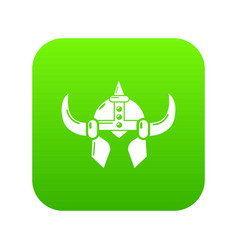 viking helmet knight icon green vector image