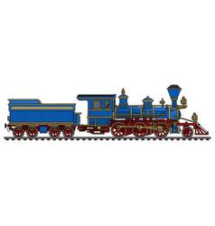 Vintage blue american steam locomotive vector