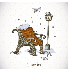 Vintage Winter Card with Snow-covered Bench vector image
