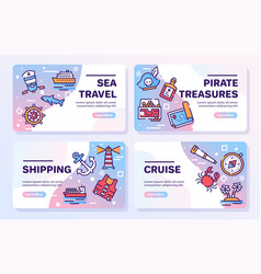 voyage items color linear icons set vector image