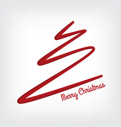 white abstract merry christmas tree line paper cut vector image