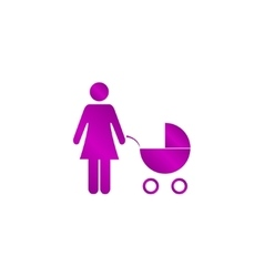 Woman with pram pictogram flat icon vector image