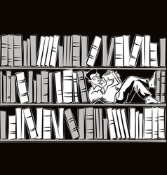 Young man lying on a shelf of a bookcase vector