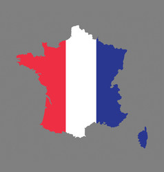 france map with the french flag vector image