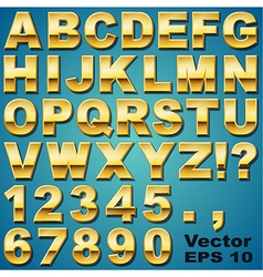 Gold Letters and Numbers vector image