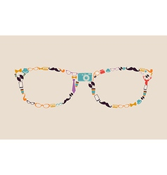 Vintage hipsters icons glasses vector image vector image