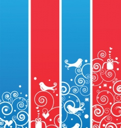 banners with birds and swirls vector image vector image